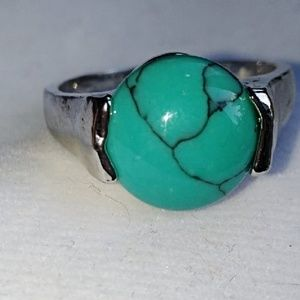 Size 11 Turquoise blue silver ring